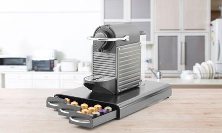 Range capsules café ou thé Kitchencook, 3 tiroirs,6 compartiments jusquà 60 capsules avec poignée chromée blanc ou gris