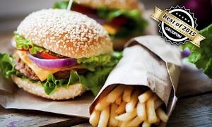 Station Cafe Bar Restaurant: Burger Rindfleisch oder Vegan mit Pommes frites für Zwei oder Vier im Station Café Bar Restaurant (bis zu 51% sparen*)