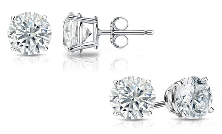 0.50, 1.00, or 1.25 CTTW Diamond Solitaire Stud Earrings