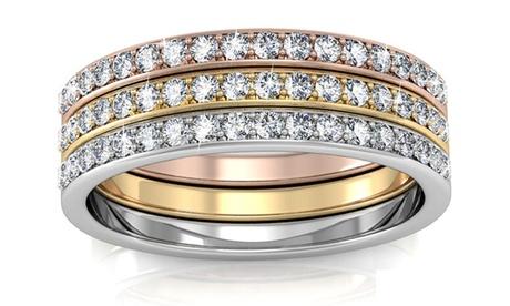 Set de 3 anillos con cristales Swarovski®