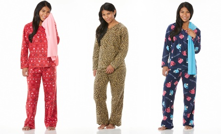 Emme Jordan V-Neck Micro Polar Fleece Printed Women's PJ Sets with Matching Blanket