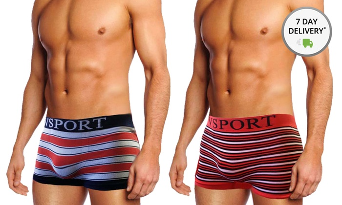 VSport Men's Seamless Boxer Briefs: Four-Pack of VSport Men's Seamless Boxer Briefs. Four Sizes Available.