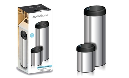 ModernHome Motion-Activated Stainless Steel Trashcan Set. Free Returns.