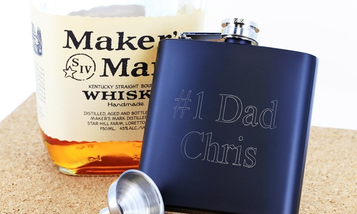 Monogram Online: $19.99 for a Personalized Flask with Funnel from Monogram Online ($59.99 Value)