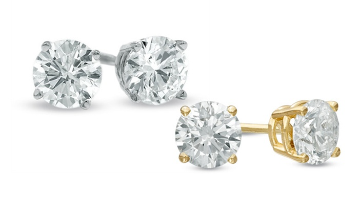 1 Carat Certified Diamond Stud Earrings In 14k Gold Groupon