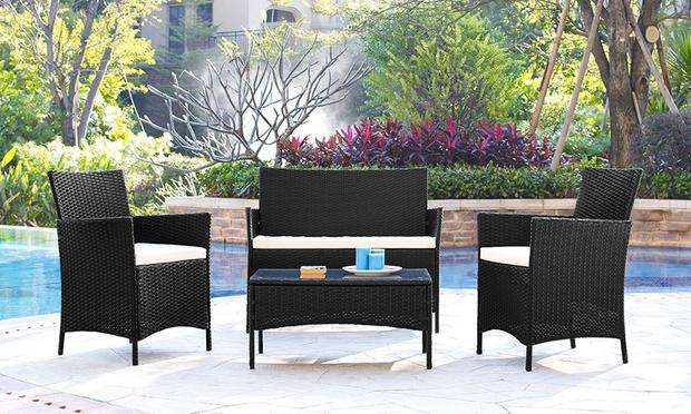 Dimensions. Rattan Garden Furniture Set   Groupon Goods