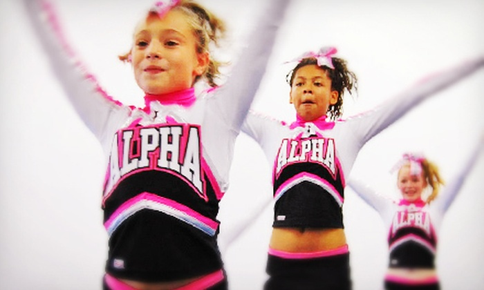 Alpha Athletics - Cary: Eight Noncompetitive Cheer or Tumble Classes, or One Week of Holiday Camp or Trackout at Alpha Athletics (Up to 55% Off)