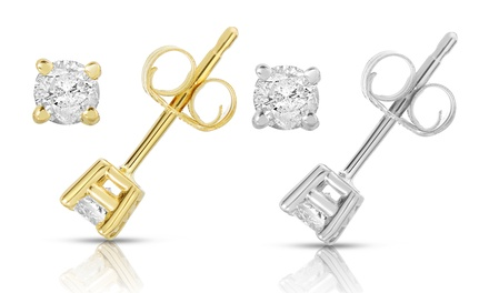 1/4 CTTW Certified Diamond Earrings in 14K White or Yellow Gold by Diamond Affection