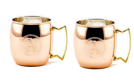 2-Pack of Old Dutch 16 Oz. Copper Monogrammed Moscow Mule Mugs
