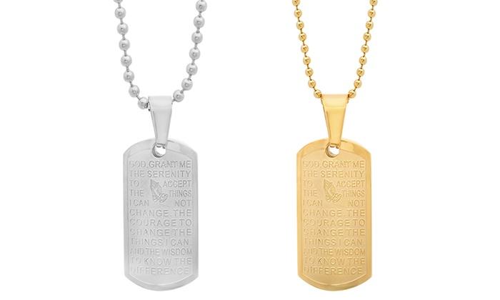 Unisex serenity prayer pendant groupon goods 18k gold plated or stainless steel unisex serenity prayer pendant aloadofball Images
