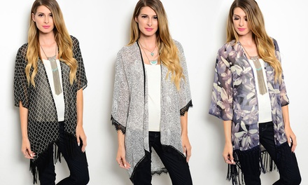 Women's Lace and Fringe Printed Kimonos