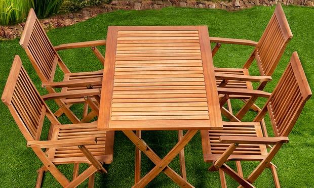 Salon de jardin bois d\'Acacia marron   Groupon Shopping