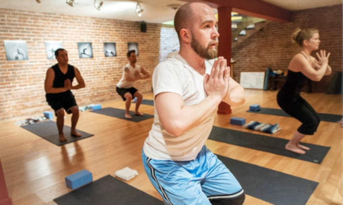 303 b. yoga - Washington Park: Month of Unlimited Yoga, 10 Classes, or Eight Beginner Classes at 303 b. yoga (Up to 76% Off). Four Options Available.