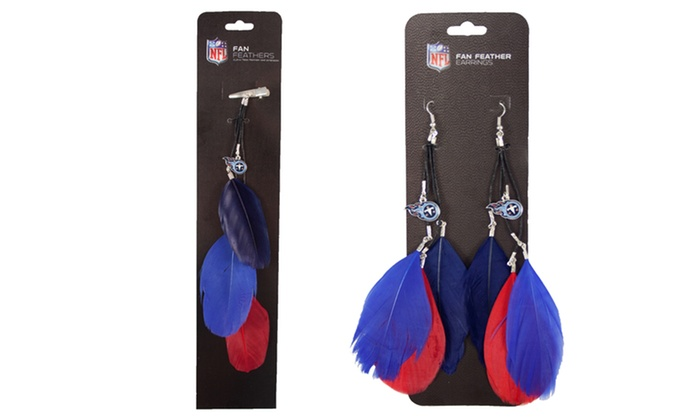 Titans Nfl Feather Earrings And Hair Clips Groupon