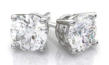 12 CTTW Cubic Zirconia Stud Earrings in Sterling Silver
