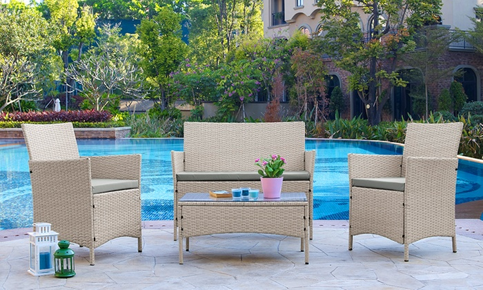 groupon goods global gmbh rattan effect garden furniture set in choice of colour from