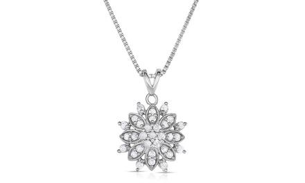 1/2 CTTW Genuine Diamond Snowflake Pendant in Sterling Silver