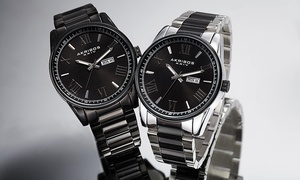 Akribos XXIV Men's Watch Set on a Stylish Sunray Date & Day Dial