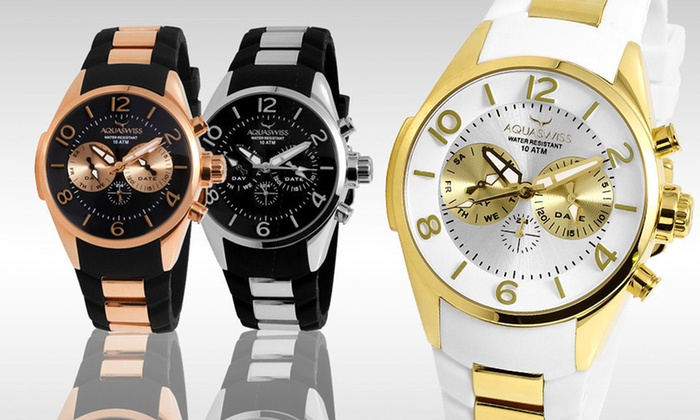 AquaSwiss Watches: $119.99 for an Aquaswiss Men's Five-Hand Trax Watch ($1,000 List Price). Six Styles Available.