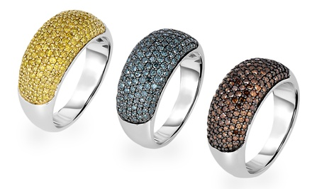1 CTTW Colored Diamond Rings in Sterling Silver
