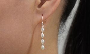 Freshwater Pearl Hanging Earrings in Sterling Silver