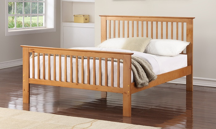 Up to 85 off oak effect bed frame groupon for Bed frame and mattress deals