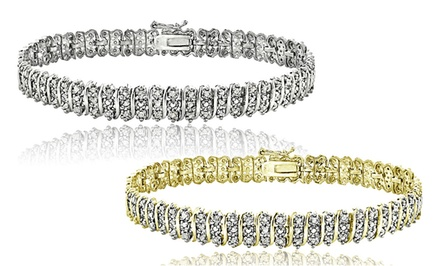 groupon daily deal - 1 CTTW Diamond Tennis Bracelet in Gold- or Silver-Tone Finish