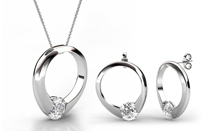 Sieradenset sterling 925 zilver, witgoud verguld 18K met kristallen van Swarovski®