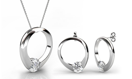 Collar y pendientes adornados con cristales Swarovski® con opción a pack de 2 o 3