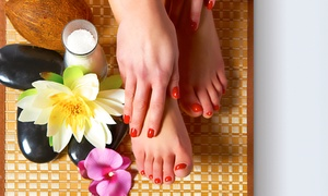 Pure Bliss Day Spa: Mani, Pedi with Optional Foot Treatments with Silk Eyelash Extensions from R144 at Pure Bliss Day Spa (Up to 60% Off)