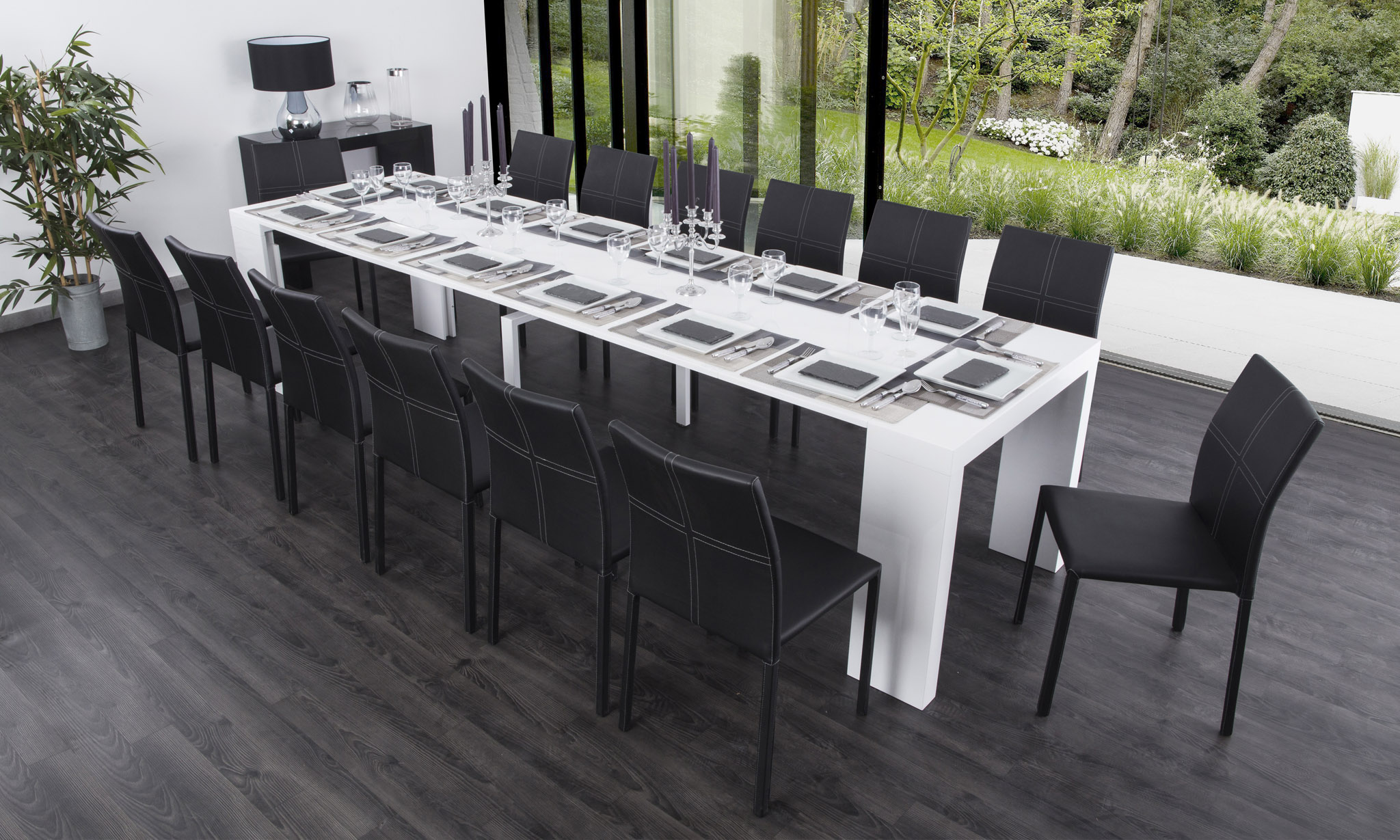 Console extensible groupon for Table blanche extensible 12 personnes