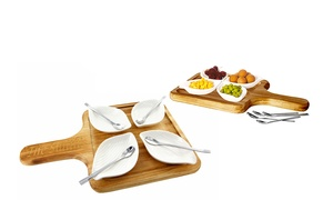 Personalized 9-Piece Petals Server Set with Wooden Base and Spoons