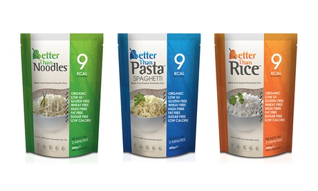 24 Packs of Better Than Foods Organic Konjac Pasta, Rice, Noodles or Mixed With Free Delivery