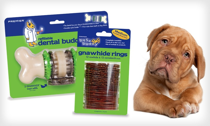 Bristle Bone and Gnawhide Pet Treats: $9 for a Busy Buddy Treat-Holding Bristle Bone and a 24-Pack of Busy Buddy Gnawhide Ring Dog Treats ($20.98 List Price)