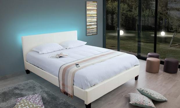 Lit en simili cuir avec sommier groupon - Fabriquer tete de lit capitonnee simili cuir ...
