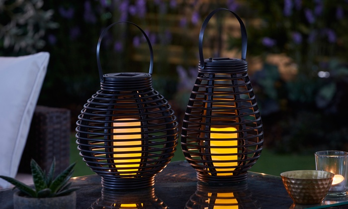 One or Two Rattan-Effect Solar LED Lanterns (£10)