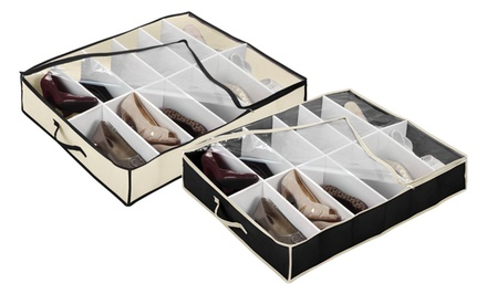 2-Piece Set of 12-Shoe Under-The-Bed Organizers. Free Returns.