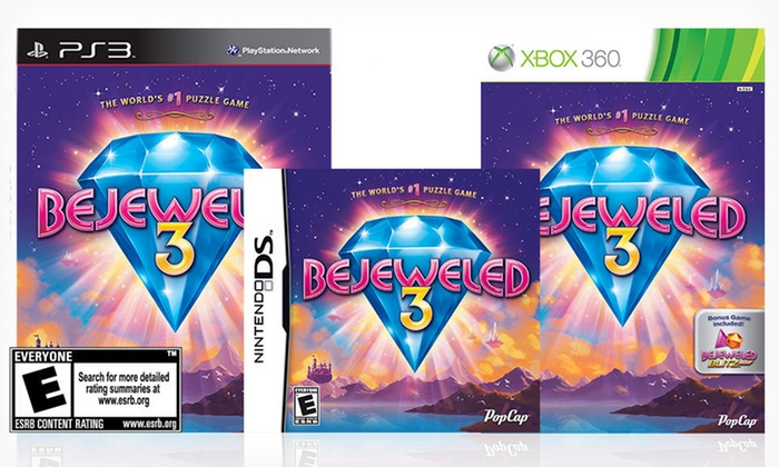 Bejeweled 3: $2.99 for PopCap Games' Bejeweled 3 on Nintendo DS, PlayStation 3, or Xbox 360 ($19.99 List Price). Free Returns.
