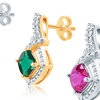 Created Gemstone and Diamond Accent Earrings