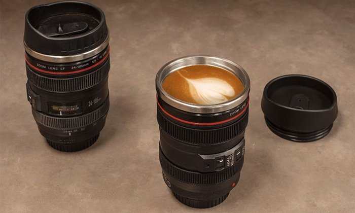 Camera Lens Coffee Mug with Lid | Groupon