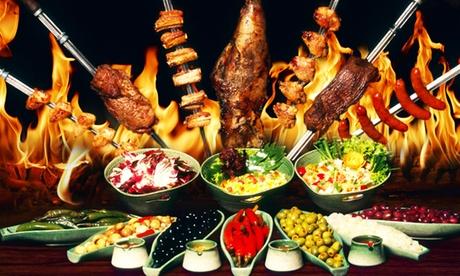 All-you-can-eat-Buffet, 10-Fleisch-Gänge und Dessert für 1-4 Pers. in der Villa Rodizio Berlin