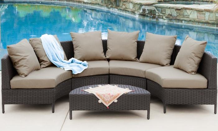 Venice outdoor wicker sectional sofa 5 piece groupon for Sectional sofa groupon