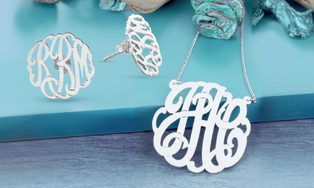 $50 Personalized Sterling-Silver Monogram Necklaceand Earrings from Monogram Online ($169 Value)
