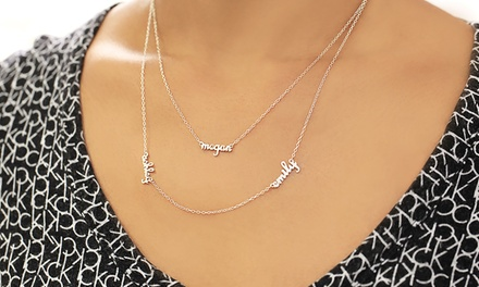 Double Layer Mini Name Necklace with 1, 2, or 3 Names in Sterling Silver from Monogram Online from $20–$55