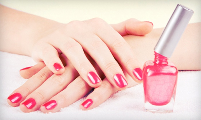 Colleen at After Glow Laser Spa & Salon - Bayshore: One Colour Veneer Polish Manicure or Two Basic Manicures from Colleen at After Glow Laser Spa & Salon (Half Off)