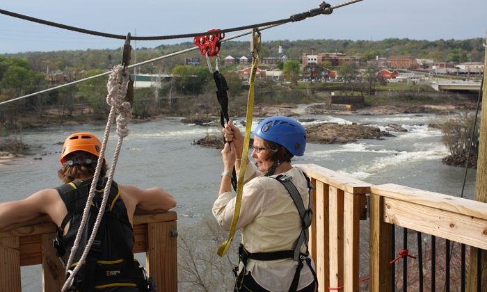 Blue Heron Zipline at Whitewater Express Columbus - Blue Heron Zipline at Whitewater Express Chattahoochee River: Blue Heron Express Pass for One or Two at Blue Heron Adventure at Whitewater Express (Up to 55% Off)