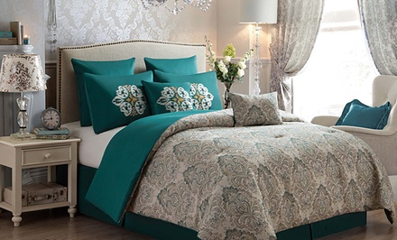 groupon daily deal - 8-Piece Jacquard Damask Reversible Comforter Set. Multiple Sizes from $84.99–$89.99. Free Returns.