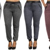 Plus-Size Women's French Terry Joggers with Faux-Leather Trim
