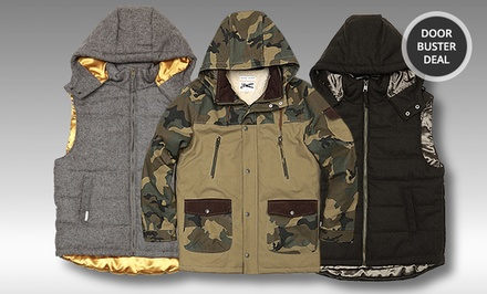 Marc Ecko Camo Jacket or Natural Aesthetic Vest. Multiple Style Available from $49.99–$69.99. Free Returns.