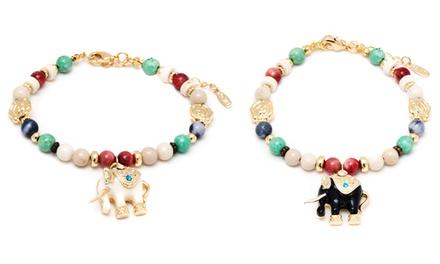 Elephant Charm Bracelet with Swarovski Elements in 18K Gold-Plated Brass